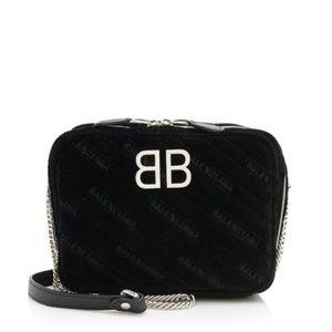 Balenciaga Black Velvet BB XS Reporter Bag